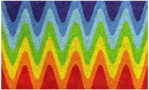 Multi-Colour Wave Designed Holi Theme Natural Coir Floor Mat - OnlyMat