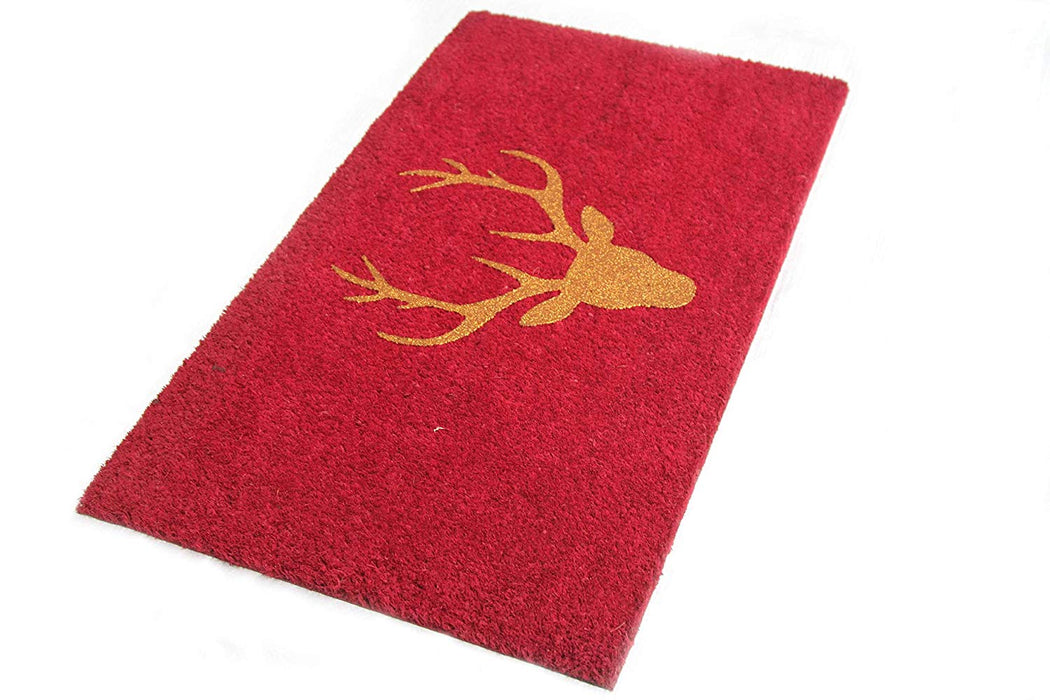 Stylish Glittering Golden Reindeer Head Printed Red Natural Coir Floor Mat - OnlyMat