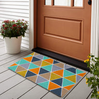 Colourful Patchwork Design Natural Printed Coir Floor Mat - OnlyMat