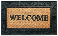 Checked Design Border Rubber Coir Doormat - OnlyMat