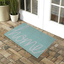 "Light Green and Gray Colour ""Home"" Printed Natural Coir Entrance Mat"