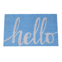 "Light Blue ""Hello"" Printed Coir Entrance Mat - OnlyMat"