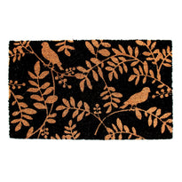 Bird and Leaf Printed Natural Coir Black Doormat - OnlyMat