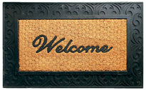 "Elegant ""Welcome"" Printed Natrual Coir Door Mat With Large Moulded Black Border - OnlyMat"