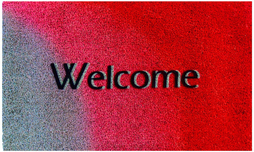 """Welcome"" Printed Red and Gray Natural Coir Door Mat - OnlyMat"