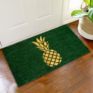 Stylish Golden Glitter Pineapple printed Green Natural Coir Floor Mat - OnlyMat