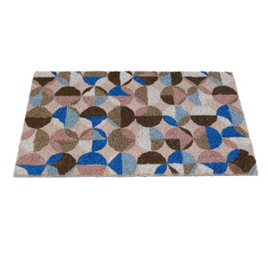 Multi Colour with Blue and Brown Design Printed Natural Coir Door Mat - OnlyMat