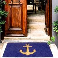 Elegant Golden Glitter Ship Anchor Printed Blue Natural Coir Floor Mat - OnlyMat