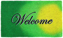 Lime Green Welcome Coir Doormat - OnlyMat