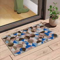 Multi Colour with Blue and Brown Design Printed Natural Coir Door Mat