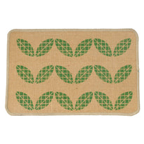Green Leaf Printed Natural Coir Floor Mat - OnlyMat