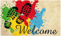 "Colourful Holi Special ""Welcome"" and Shoe Mark Printed Natural Coir Door Mat - OnlyMat"
