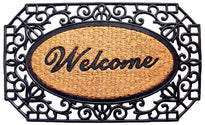 "Elegant Oval Shaped ""Welcome"" Printed Natural Coir Mat With Large Black Moulded Rubber Border"