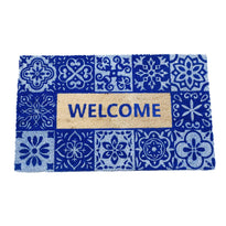 Welcome Printed Blue Colour Natural Coir Entrance Door Mat - OnlyMat