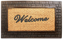 "Elegant ""Welcome"" Printed Natural Coir Door Mat with Large Brown Brick Designed Moulded Rubber Border"