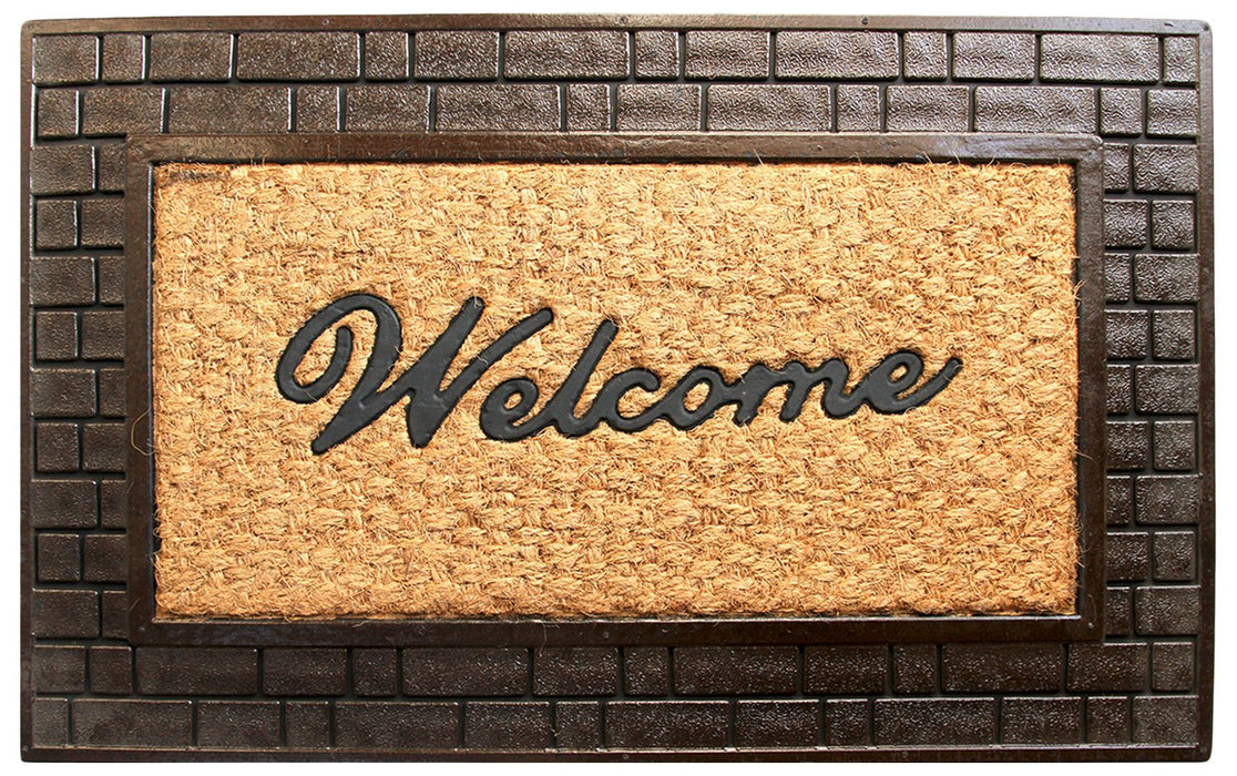 Brick Design Border Rubber Coir Doormat
