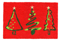 Stylish Christmas Xmas Tree Printed Red Color Natural Coir Floor Mat - OnlyMat
