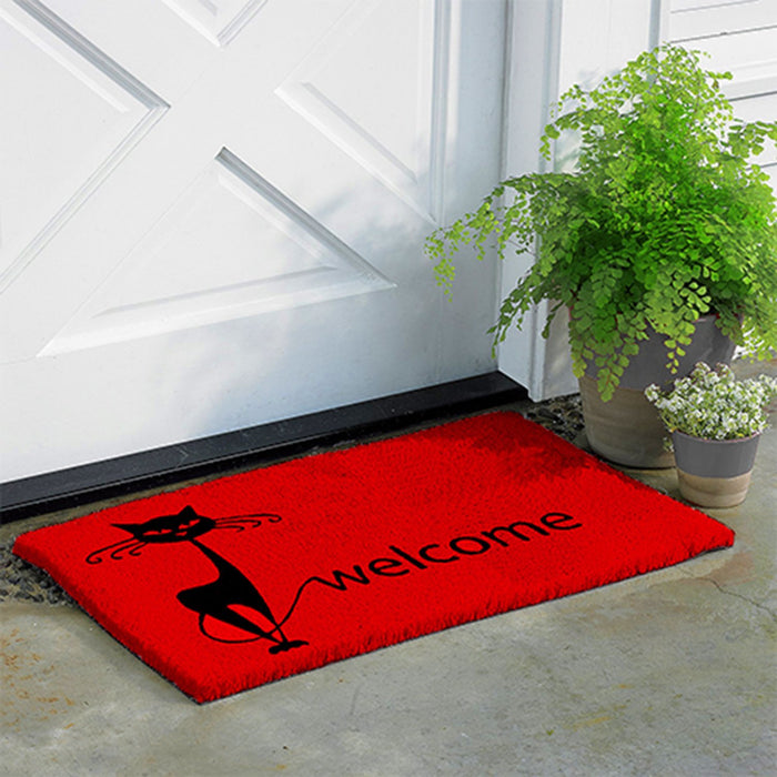 Cat printed Stylish Red Coir Floor Mat