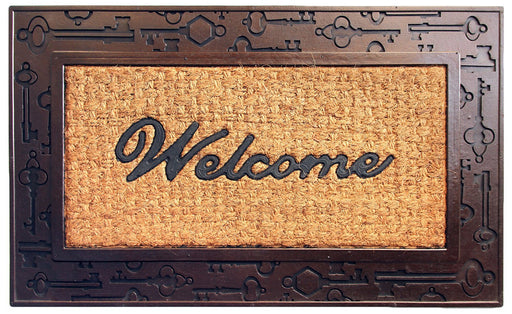 Key Design Border Rubber Coir Doormat