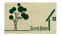 """Green Home"" printed Natural Coir Green Anti-Slip Floor Mat"