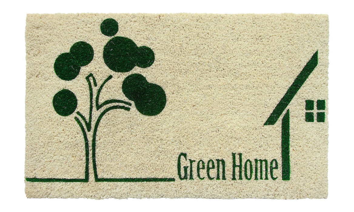 """Green Home"" printed Natural Coir Green Anti-Slip Floor Mat - OnlyMat"