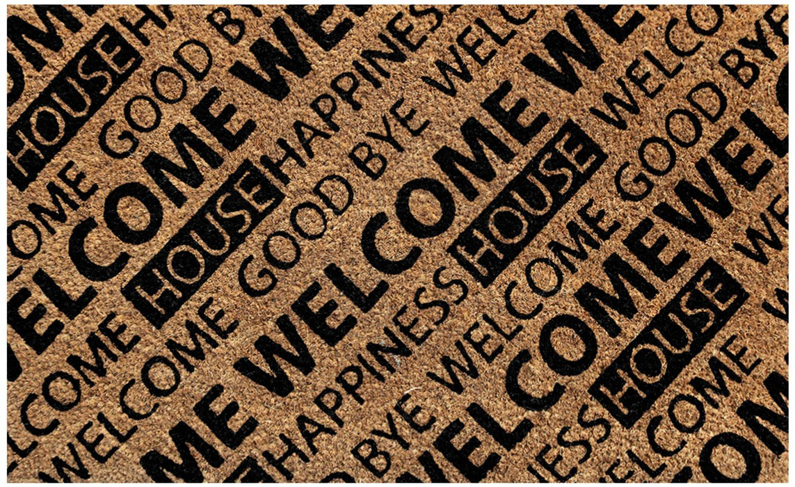 Brown and Black Welcome Design Natural Coir Doormat