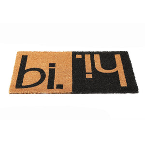 "Elegant Funny Black & Brown ""Hi Bi"" Printed Natural Coir Door Mat - OnlyMat"
