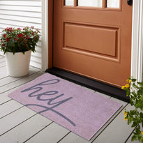 """Hey"" Printed colourful Natural Coir Door mat with PVC backing - OnlyMat"