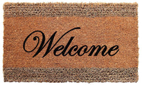 """Welcome""  Printed Natural Seagrass and Coir Door Mat"