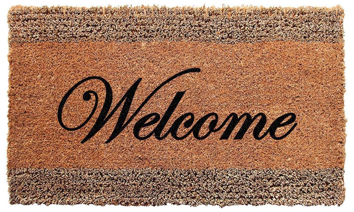 """Welcome""  Printed Natural Seagrass and Coir Door Mat - OnlyMat"