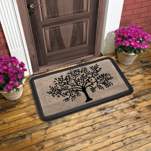 SOFT Polypropylene Tree Flocked Door Mat -Beige