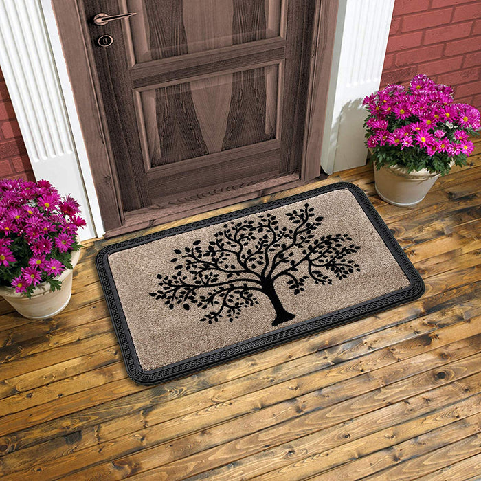 Elegant Beige Colour Soft Polypropylene Tree Flocked Floor Mat - OnlyMat