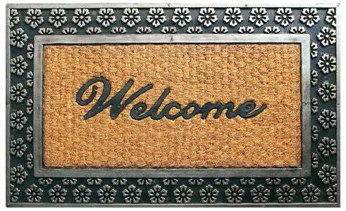 Flower Design Border Rubber Coir Doormat - OnlyMat