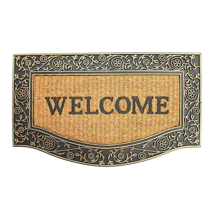 "Elegant Cast Iron Design ""Welcome"" Printed Natural Coir & Rubber Door Mat"