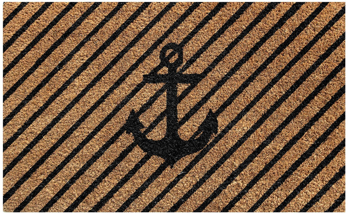 Printed Ship Anchor Coir Door Mat - Front