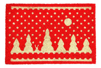 Stylish Red Christmas Theme Natural Coir Designer Floor Mat - OnlyMat