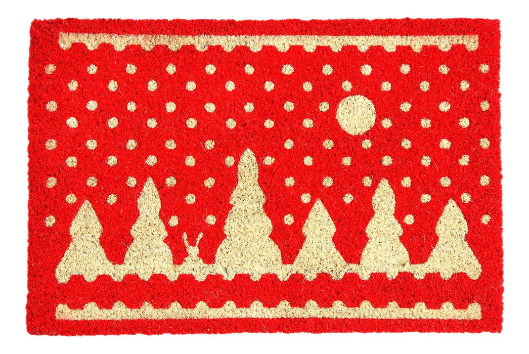 Stylish Red Christmas Theme Natural Coir Designer Floor Mat