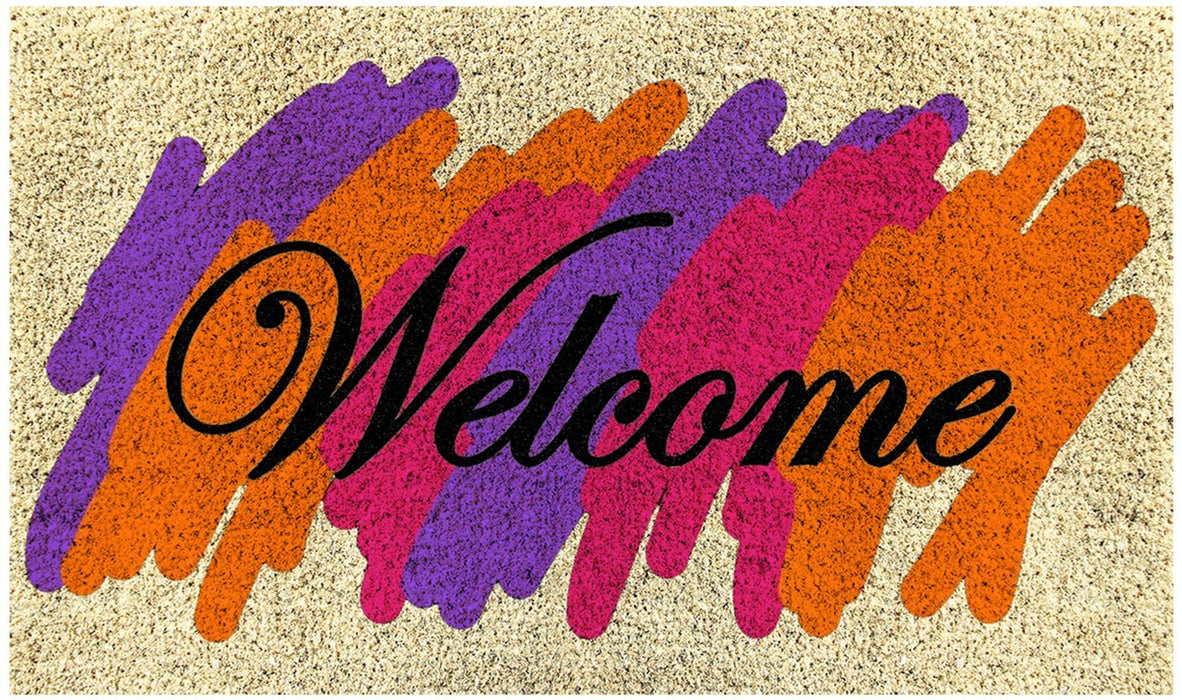 "Elegant Multi-Colour Holi Special ""Welcome"" Printed Natural Coir Door Mat - OnlyMat"