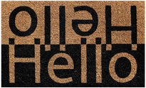 "Elegant ""Hello"" Printed Black & Brown Natural Coir Door Mat"