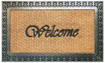 "Elegant ""Welcome"" Printed Natural Coir Door Mat with Cast Iron Design Moulded Rubber Border - OnlyMat"