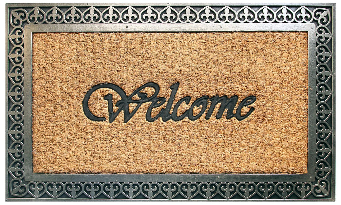 "Elegant ""Welcome"" Printed Natural Coir Door Mat with Cast Iron Design Moulded Rubber Border"