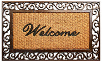 Welcome Cast Iron Design Rubber Coir Doormat - OnlyMat