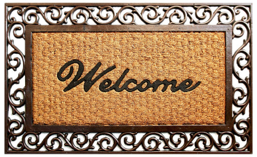 Welcome Cast Iron Design Rubber Coir Doormat