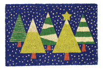 Colourful Christmas Tree Printed Coir Floor Mat - OnlyMat