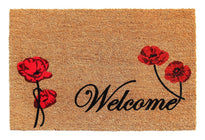 "Elegant ""Welcome"" and Red Flower Printed Natural Coir Door Mat"