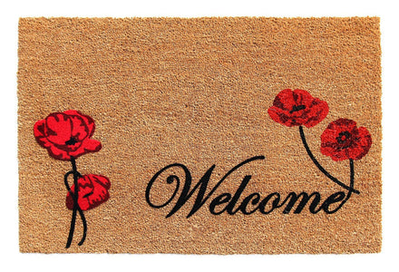 "Elegant ""Welcome"" and Red Flower Printed Natural Coir Door Mat - OnlyMat"