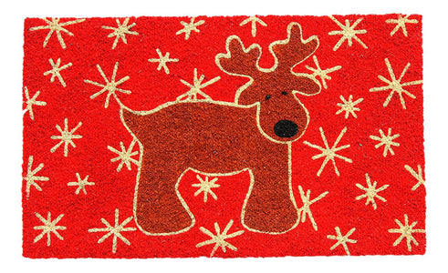 Christmas Theme - Reindeer Printed Red Natural Coir Floor Mat - OnlyMat