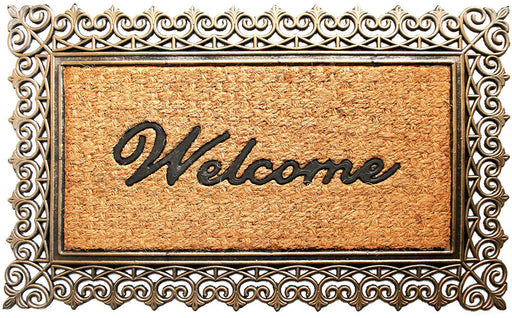 Golden Brown Welcome Natural Rubber Coir Doormat