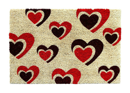 Beautiful Love Heart Printed Natural Coir Floor Mat - OnlyMat
