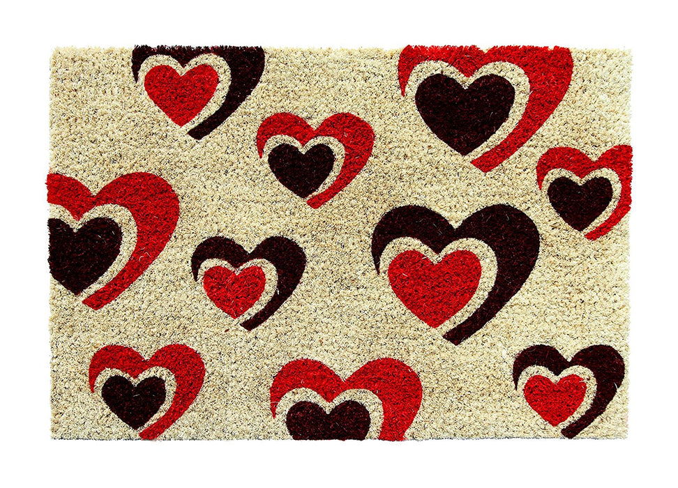 Beautiful Love Heart Printed Natural Coir Floor Mat